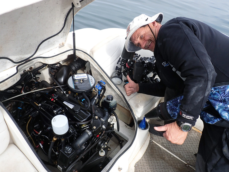 Stevie, showing off his new boat engine.<br /> Dana Landing, Mission Bay, California<br /> May 4, 2019