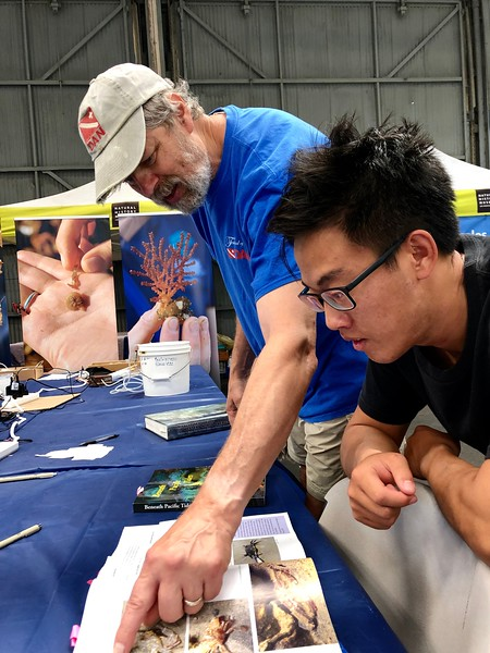 BioBlitz: Gregory shows James his shrimp & crab book<br /> August 27, 2019