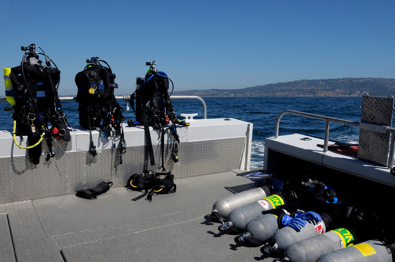 "Dive kits, prepped for diving<br /> Enroute to ""The Pipe"", off LA County shore"