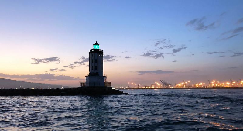 Angel's Gate Lighthouse, LA Harbor, San Pedro.<br /> For Black Water (night) dive, off Palos Verdes, California
