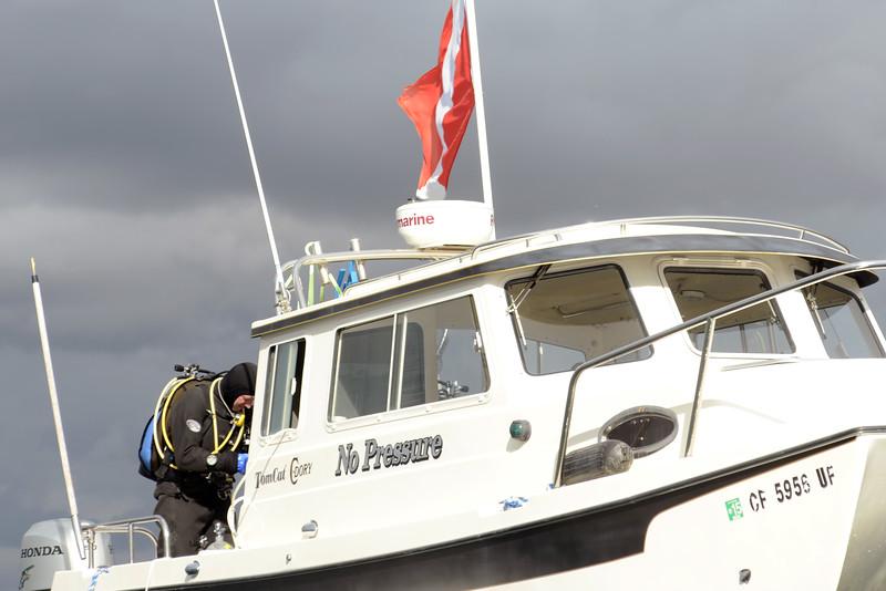 """""""No Pressure"""" captain, preparing for dive.<br /> Off Redondo Beach, California"""