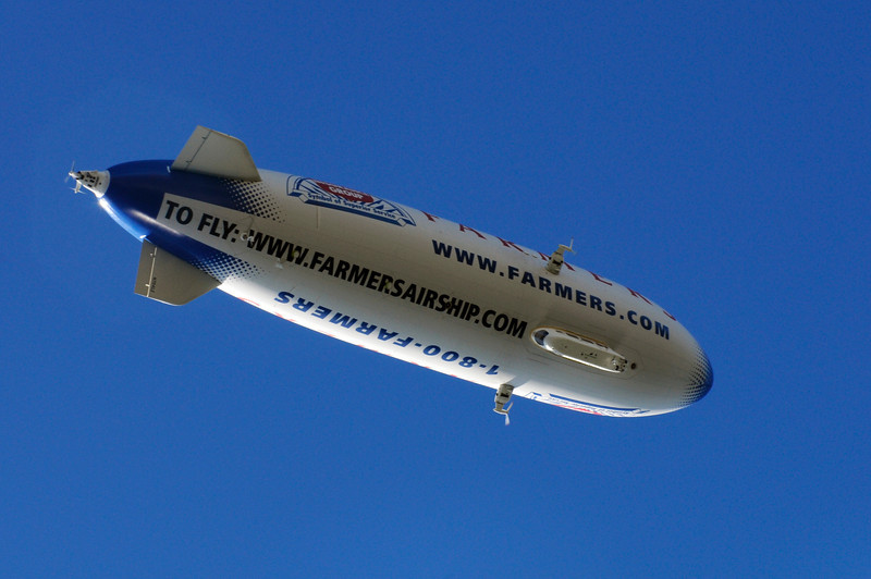 Blimp overhead, from ocean surface, by Pt. Fermin, California.