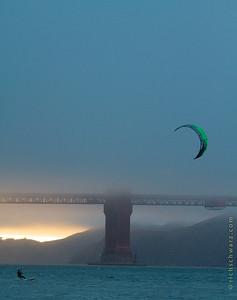 kite surfing, golden gate bridge san francisco