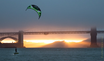 kite surfing, golden gate bridge san francisco