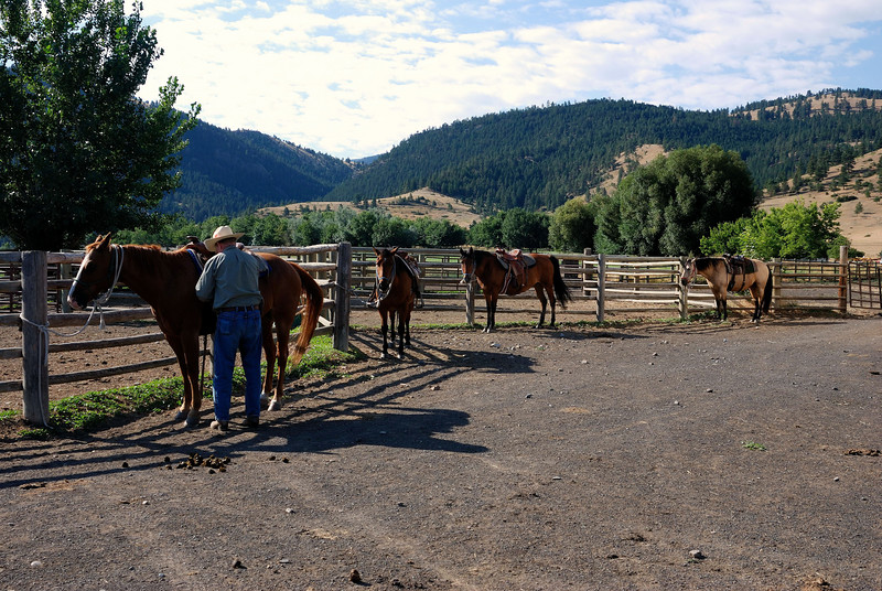 Getting ready for a ride<br /> Oxbow Ranch