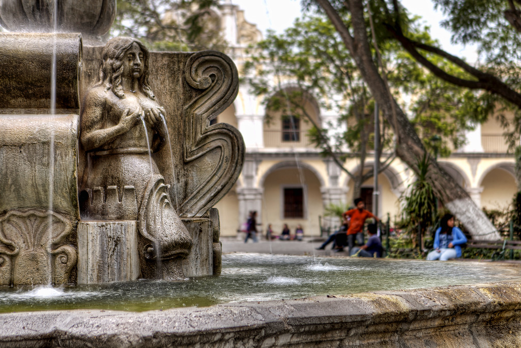 Detail picture of the central fountain of antigua guatemala showing topless lady