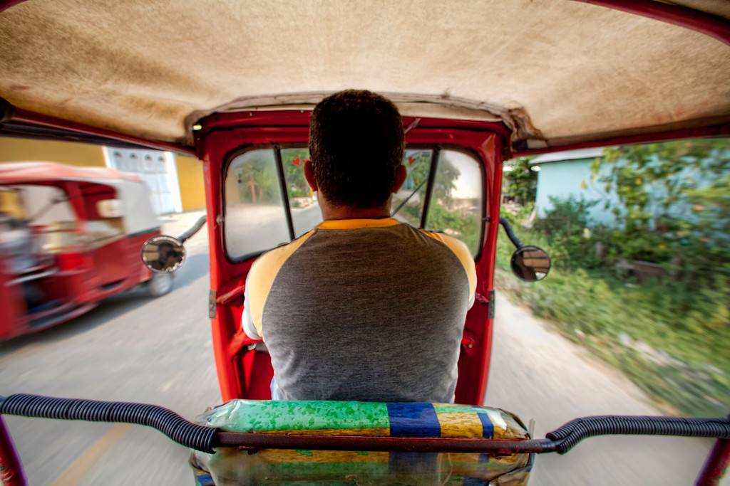 View from the back of a tuk tuk on the move in Guatemala