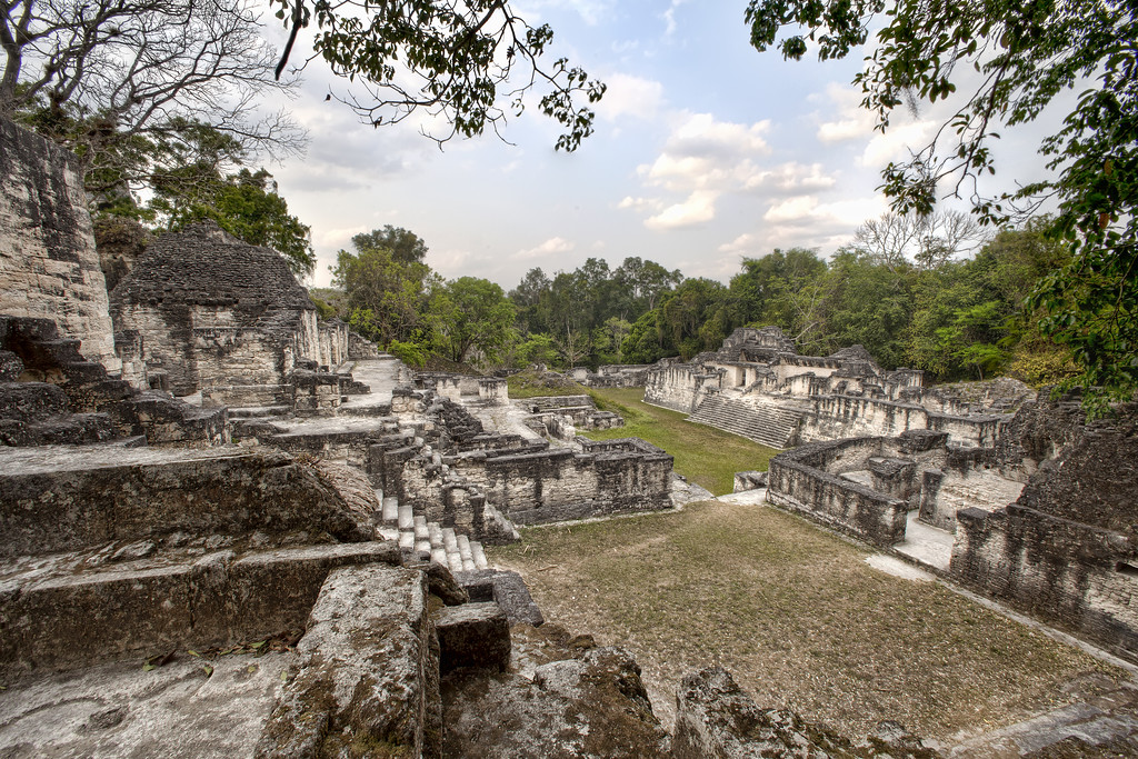 The ancient Mayan Palace ruins at Tikal near Flores, Guatemala