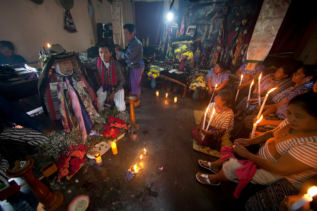 Maximon, the evil saint ,and Mayan attendants in Guatemala