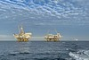 Oil Rig Platforms: Ellen (left) & Elly.  Edith is far right, farthest on the horizon.<br /> Catalina Channel, Giant Stride<br /> March 18, 2021