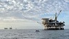 Oil Rig Platforms: Edith (left), Elly & Ellen, and Eureka in the distance.<br /> San Pedro, Giant Stride<br /> March 18, 2021