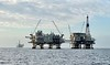 Oil Rig Platforms: Elly (left) and Ellen (right). Eureka is in the distance.<br /> Catalina Channel, Giant Stride<br /> March 18, 2021
