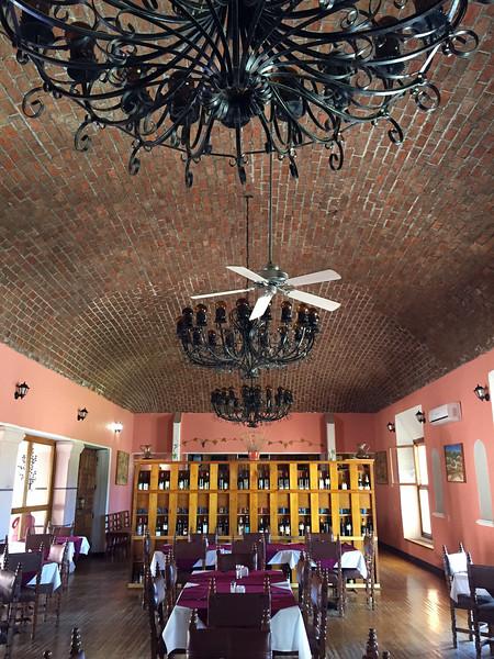 Restaurant with vaulted ceiling.<br /> Hotel Mision Catavina, Catavina, Baja California, Mexico