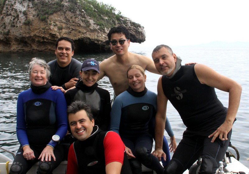 "Our dive team at Los Arcos dive site.  From left to right: Sandra Millen, Jorge, Alicia Hermosillo, Kevin Lee, Allison Vitsky, Roberto and, in front, Poncho.  During 9 dives, we found 48 opisthobranch species, the majority of them by eagle-eyes Alicia.  Some of the slugs were literally the size of a grain of sand and often camouflaged so well, it took me minutes to ""see"" them.  Alicia should be registered with the federal government as a National Treasure - truly mind boggling how she locates and finds these rare critters.  K:-)<br /> Best dive shop in PV:  <a href=""http://www.vallartaundersea.com"">http://www.vallartaundersea.com</a>"