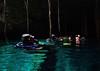 Dive team resting midway<br /> Tajma Ha Cenote
