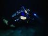 Roland partially passing through a halocline<br /> Tajma Ha Cenote