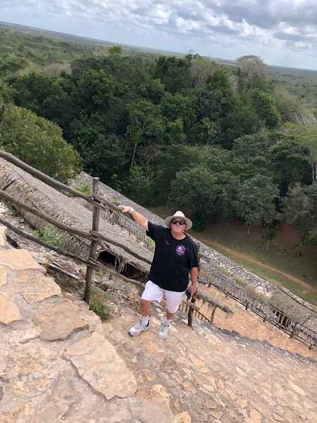 Scott climbing the steep steps of the Acropolis