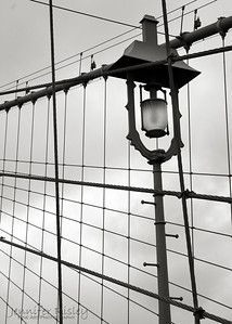 Brooklyn Bridge Lamp Post with Cables