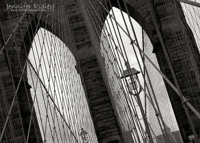 Brooklyn Bridge Tower with Lamp Post