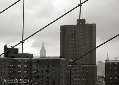 Midtown Manhattan Skyline through Brooklyn Bridge Cables