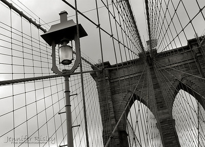Brooklyn Bridge Tower with Lamp Post