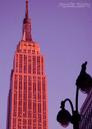 Top of Empire State Building & Street Light