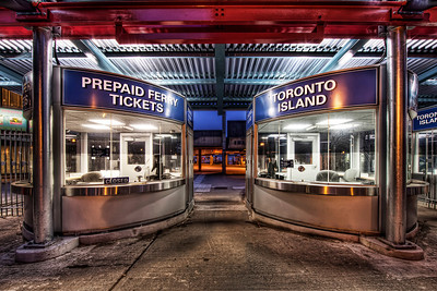 I'd have liked to get out to Toronto Island during my time there. In fact, my plan was to head there immediately after checking into my hotel. Unfortunately, I missed my connection in New York and got in far too late. I walked by and decided the ticket booths would make for a good photo.  Click here for more on this shot at the Traverse Earth blog.   If you're interested in my HDR techniques, visit my  FREE HDR TUTORIAL.