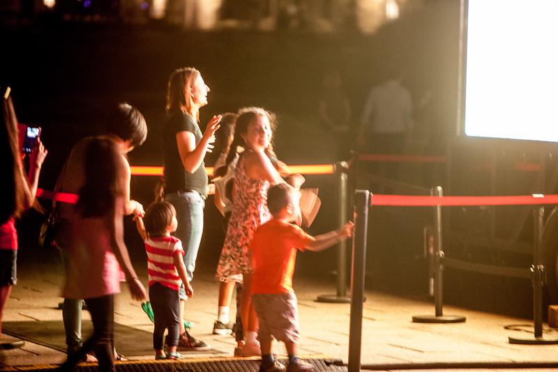 Children play at night