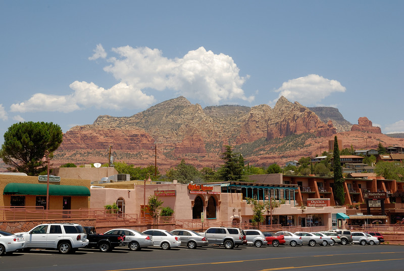 Uptown Sedona with Steamboat Rock in the background