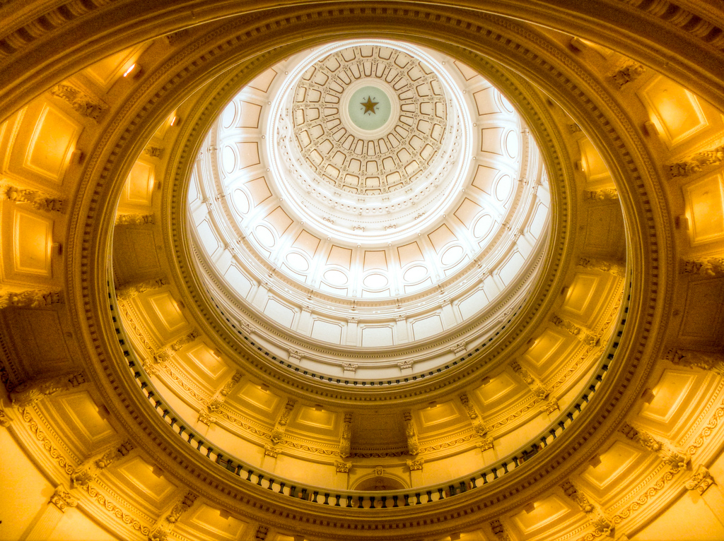 A Look Up Inside The Golden Dome Of The Austin, Texas Capitol Building
