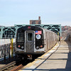 New York Subway F Line train at Smith-9 Streets, Brooklyn.