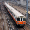 Massachusetts Bay Transportation Authority 1200 Series Orange Line Cars near Ruggles Station.