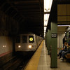 New York Subway R Line train at Atlantic Avenue-Pacific Street, Brooklyn.