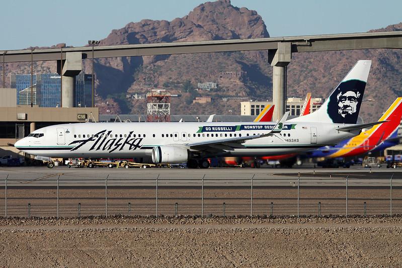 """N453AS Boeing 737-990ER c/n 36354 Phoenix-Sky Harbor/KPHX/PHX 17-11-16 """"Go Russell! Nonstop Dedication"""""""