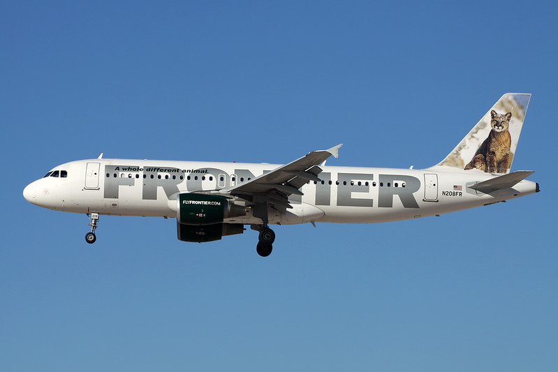 """N208FR Airbus A320-214 c/n 4562 Las Vegas-McCarran/KLAS/LAS 13-11-16 """"Cougar"""""""