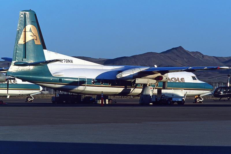 """N278MA Fokker F-27-200 Friendship """"Eagle Canyon Air"""" c/n 10280 Boulder City/KBLD/BLD 11-03-04 (35mm slide)"""