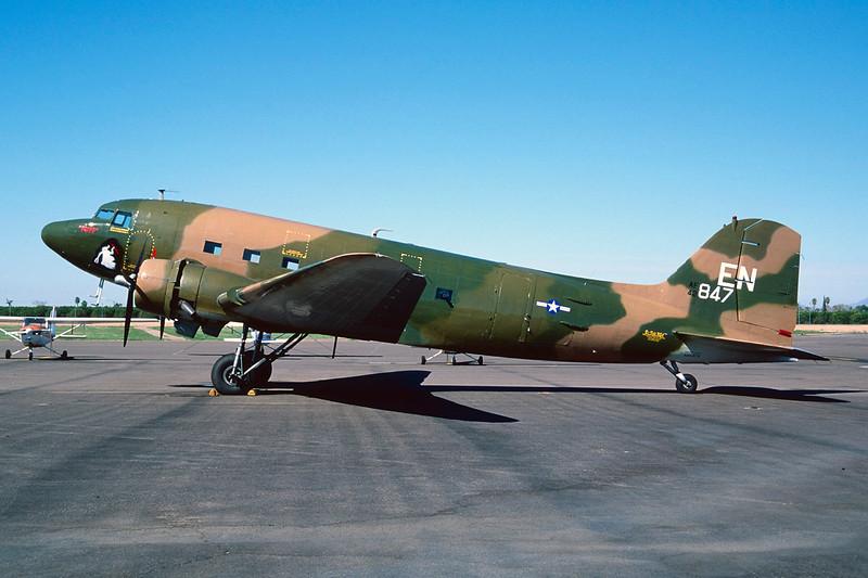 N88874 (EN/42-847) Douglas DC-3 AC-47A-15-DK c/n 12693 Mesa- Falcon Field/KFFZ/MSC 14-03-04 (35mm slide)