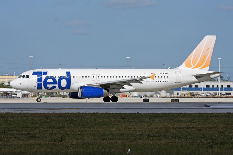 "N493UA Airbus A320-232 ""Ted"" c/n 1821 Miami/KMIA/MIA 05-12-08"