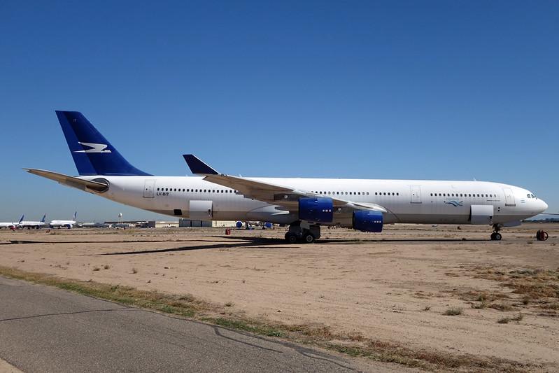 """N349AT (LV-BIT) Airbus A340-313 """"Leasing Company"""" c/n 093 Goodyear/KGYR/GYR 15-11-16"""