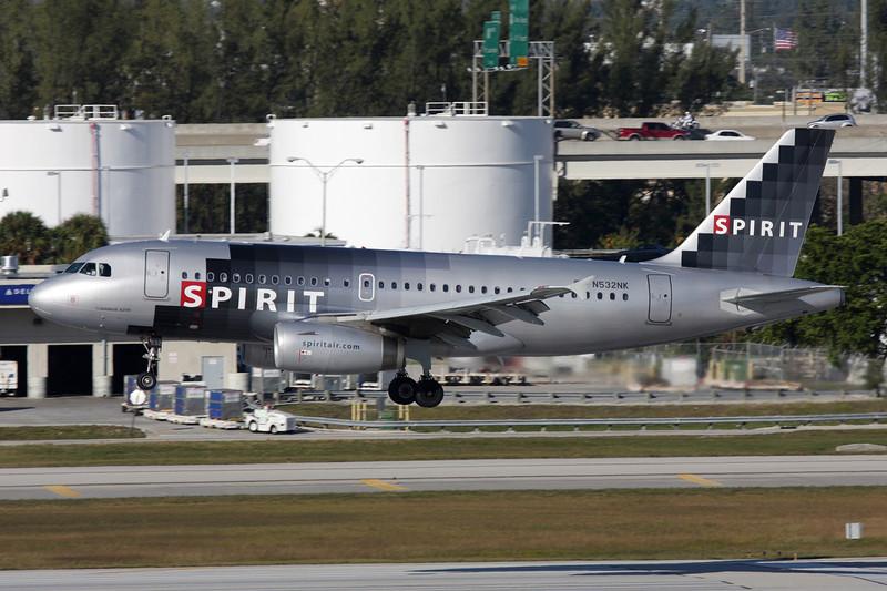 """N532NK Airbus A319-132 """"Spirit Airlines"""" c/n 3165 Fort Lauderdale-International/KFLL/FLL 02-12-08"""