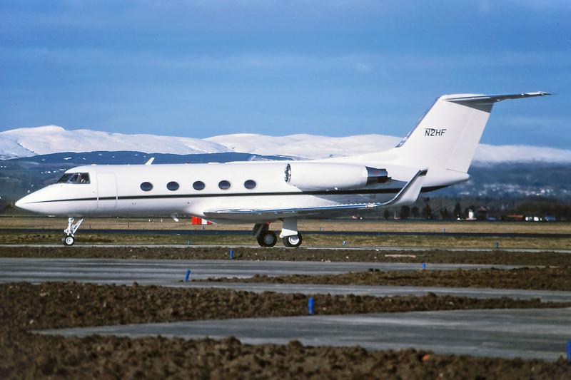 N2HF Gulfstream G2SP c/n 221 Glasgow/EGPF/GLA 20-03-95 (35mm slide)