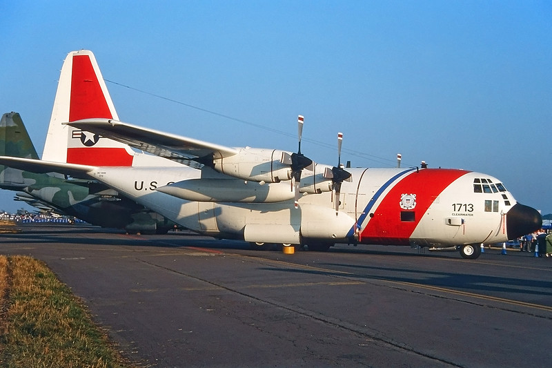 "1713  Lockheed HC-130H Hercules ""US Coast Guard"" c/n 5034 Fairford/EGVA/FFD 25-07-99 (35mm slide)"