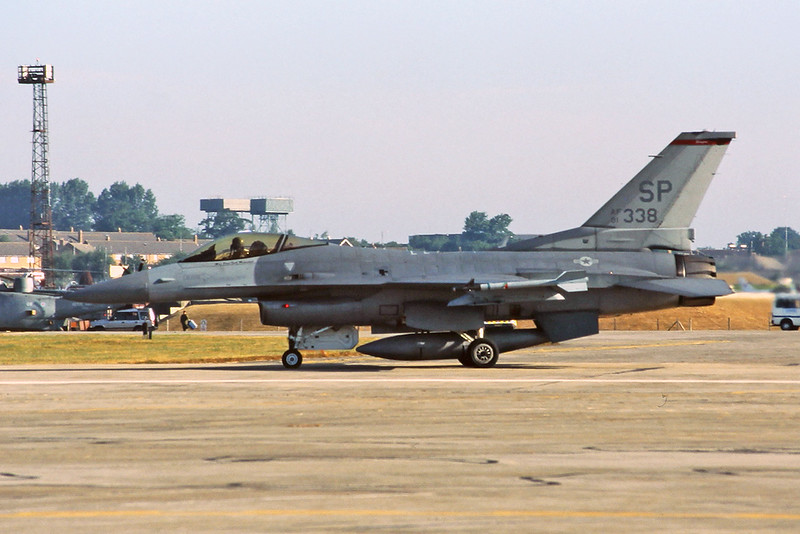 "91-0338 (SP) General Dynamics F-16CJ Fighting Falcon ""United States Air Force"" c/n CC-33 Fairford/EGVA/FFD 24-07-95 (35mm slide)"