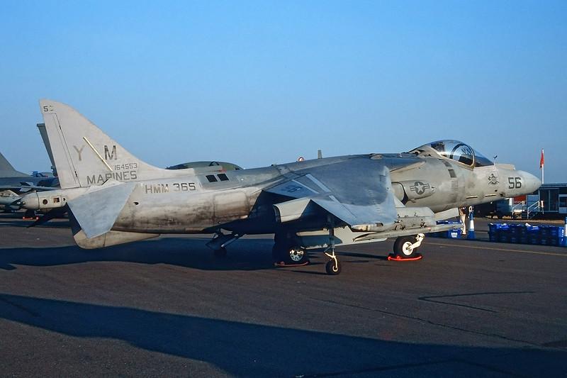"""164553 (YM-56) McDonnell-Douglas AV-8 B+ Harrier """"US Marine Corps"""" c/n 238 Fairford/EGVA/FFD 25-07-99 (35mm slide)"""