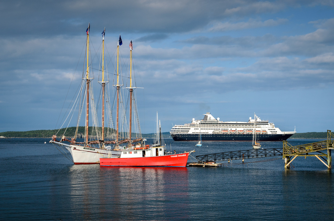 The Maasdam departing Bar Harbor on an August evening.