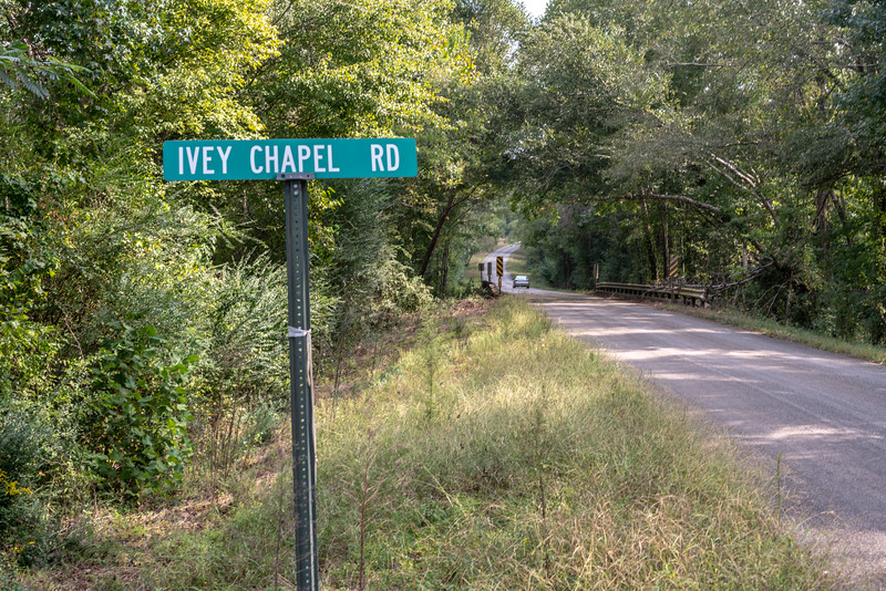 Turning onto Ivey Chapel Road in Sprott.