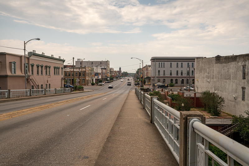 Looking into Selma from the Edmund Pettus Bridge...to be honest, it is a grim little shadow of a town.