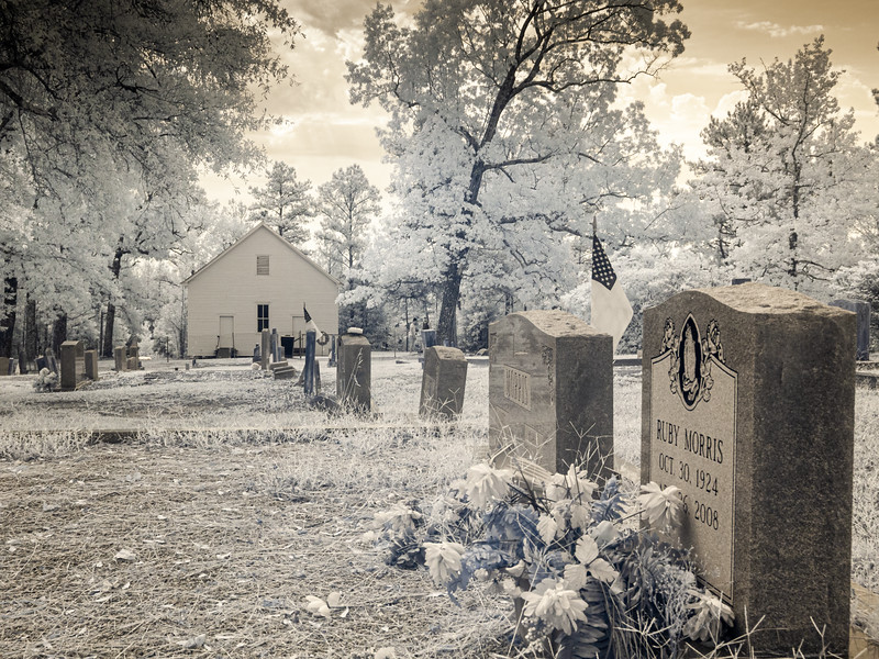 Graves in the cemetery at Ivey's Chapel.