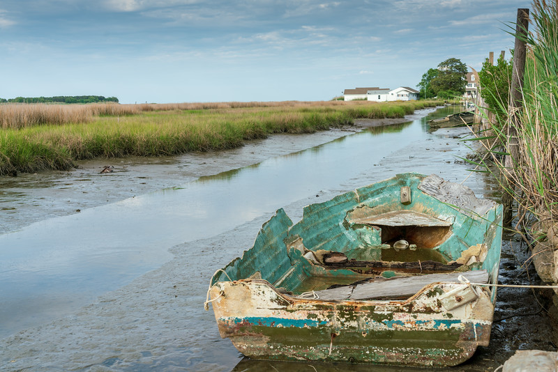 Abondoned boat at low tide off Canton Road.