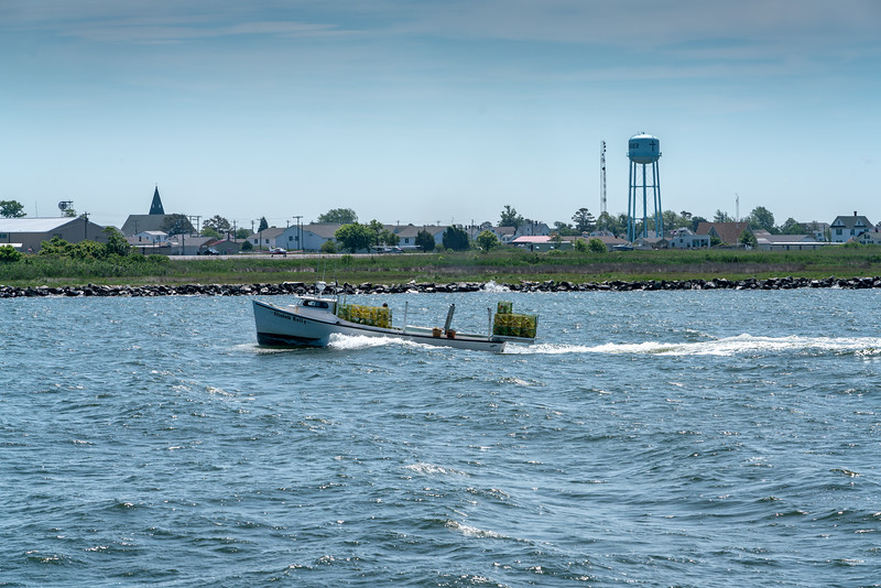 Just arriving at the western cut into the harbor at Tangier Island.